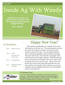 Cover photo for Inside Ag With Wendy - January, February, March 2014