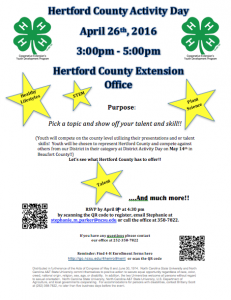 4-H County Activity Day Flyer
