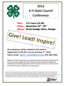 Cover photo for 2016 State 4-H Council Conference