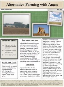 Cover photo for October - December 2016 Alternative Farming With Anass Newsletter