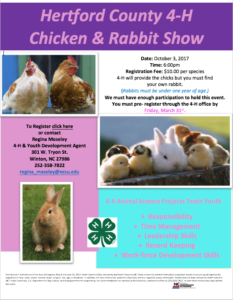 Cover photo for 2017 Hertford County 4-H Chicken and Rabbit Show