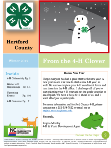 Cover photo for 4-H Winter 2017 Newsletter