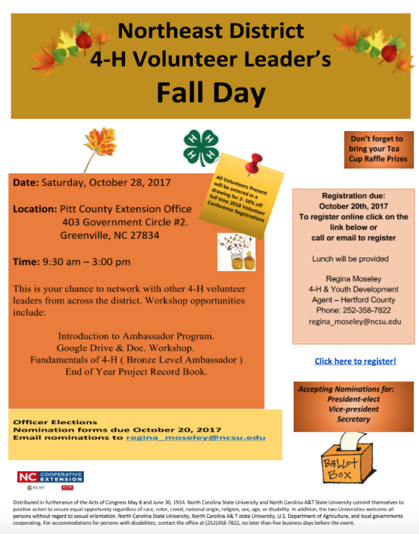 Northeast District 4-H Volunteer Leader's Fall Day flyer