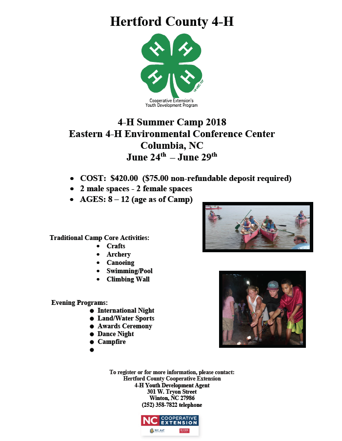 4-H Summer Camp flyer