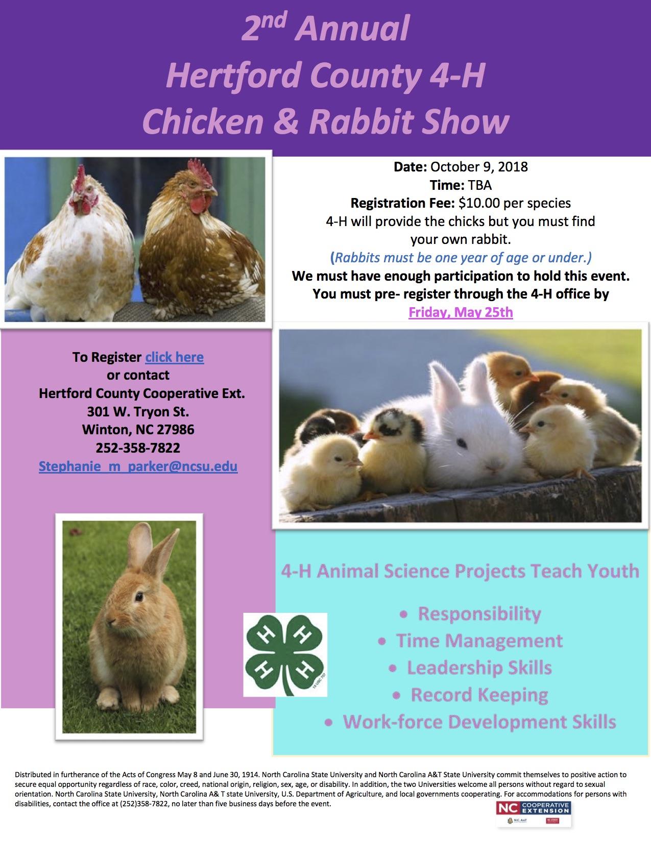Hertford County 4-H Chicken & Rabbit Show