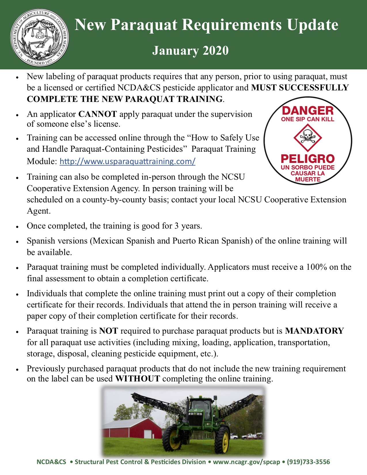 Flyer for Paraquat Training.